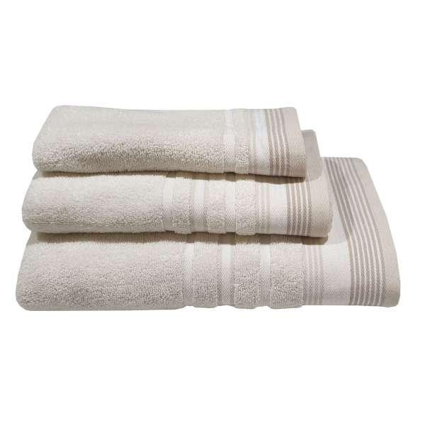 Πετσέτα ΚΟΜΒΟΣ Πεννιέ Satin Stripe  500γρ/μ² Sand Χειρός 30x50 - 7005905-1