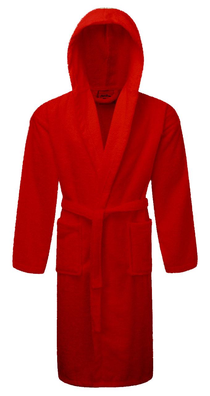 Κόκκινο Mπουρνούζι Πετσετέ Eνηλίκων 100% Bαμβακερό Με Κουκούλα - 1435