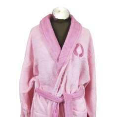 Ροζ δίχρωμο μπουρνούζι ενηλίκων 100% βαμβακερό - 1301