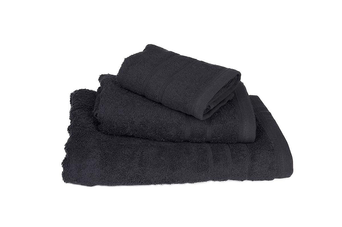 Πετσέτα ΚΟΜΒΟΣ Πεννιέ 500γρ/μ² Μαύρη Σώματος 75x145 - 378-3