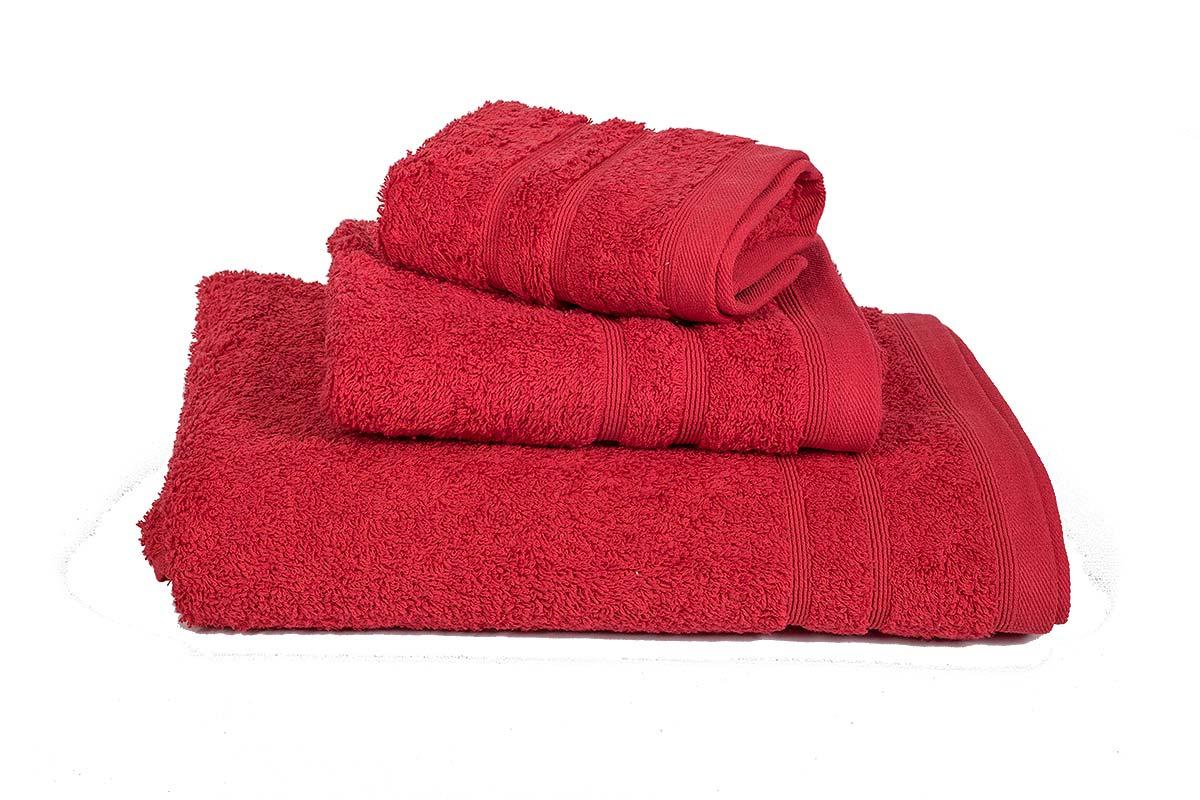Κόκκινο σετ πετσέτες τριών τεμαχίων πενιέ 500γρ/τ.μ - 383-4