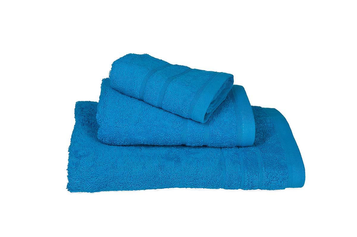 Τυρκουάζ σετ πετσέτες τριών τεμαχίων πενιέ 500γρ/τ.μ - 407-4
