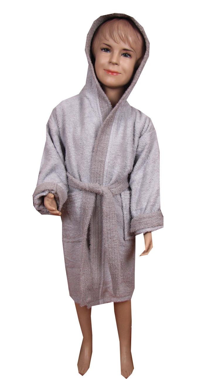 Γκρί παιδικό μπουρνούζι με κουκούλα - 1167