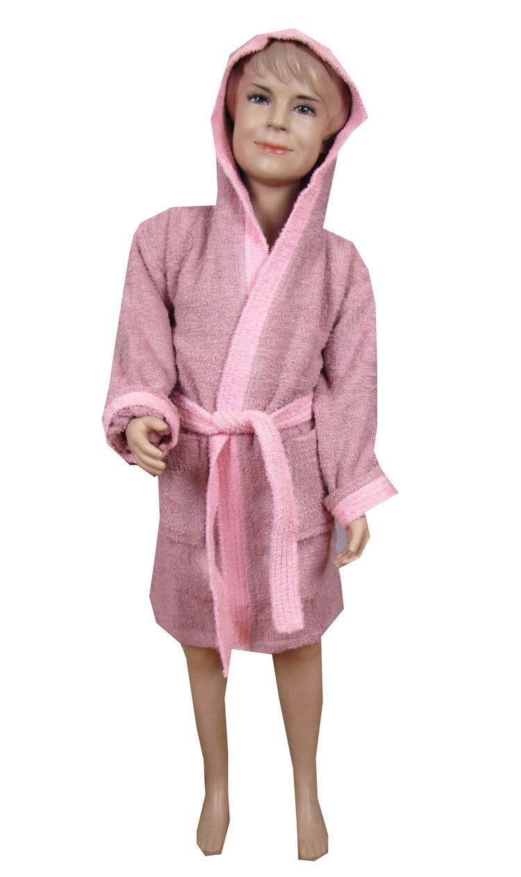 Ροζ παιδικό μπουρνούζι με κουκούλα - 1168