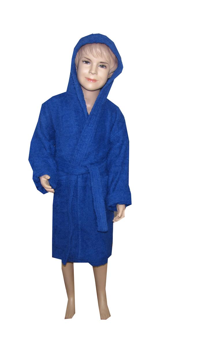 Μπλέ παιδικό μπουρνούζι με κουκούλα - 8515