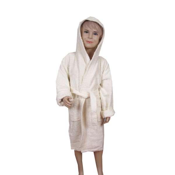 Εκρού παιδικό μπουρνούζι με κουκούλα - 8522