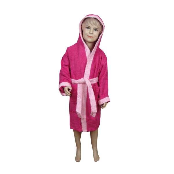 Φούξια-ροζ παιδικό μπουρνούζι με κουκούλα - 9038