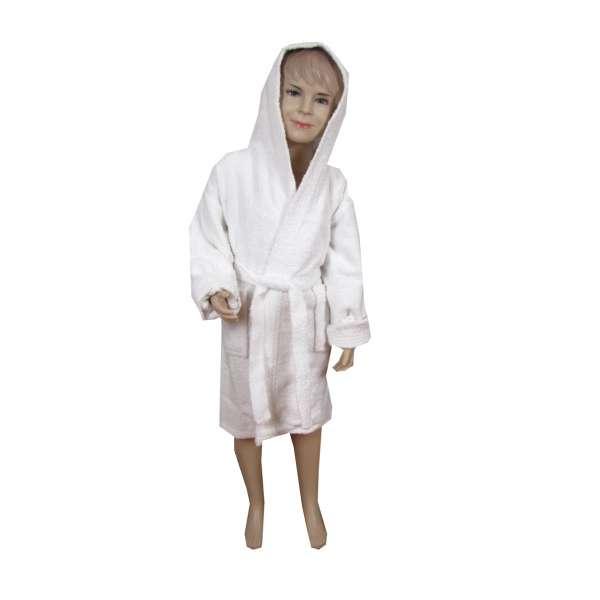 Λευκό παιδικό μπουρνούζι με κουκούλα - 1373