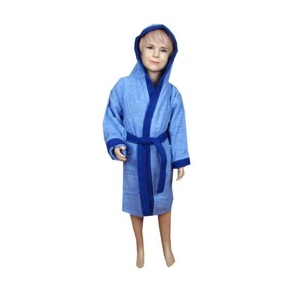 Σιέλ-μπλέ παιδικό μπουρνούζι με κουκούλα - 9037