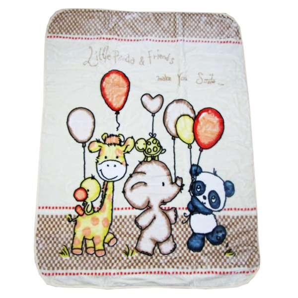 Κουβέρτα Κούνιας Μπεμπέ Βελουτέ Panda and Friends 110Χ140 - 1398