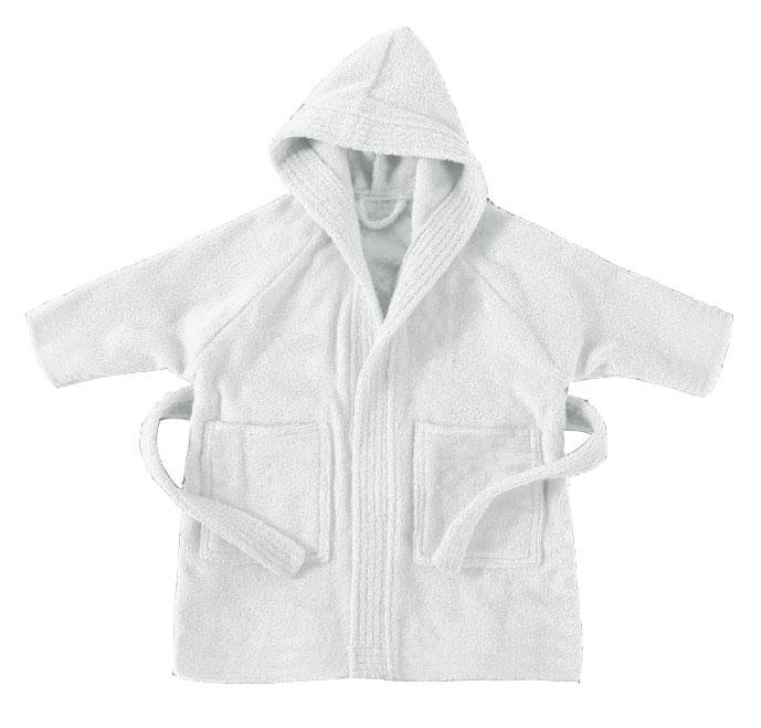 Λευκό παιδικό μπουρνούζι με κουκούλα - 765
