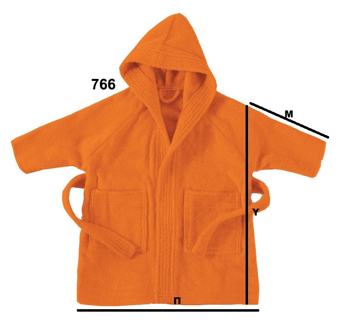 Πορτοκαλί παιδικό μπουρνούζι με κουκούλα - 766
