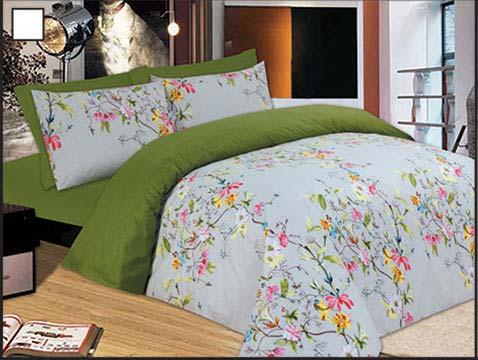 Σετ κoυβερλί ημίδιπλο 160Χ240 Flowers Green - 898-7