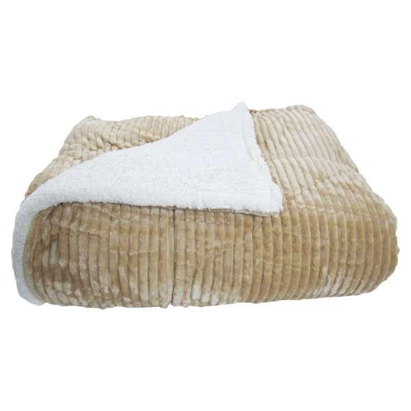 Κουβερτοπάπλωμα Ideato Yπέρδιπλο Flannel - Sherpa 220X240 σε Μπεζ - 1468
