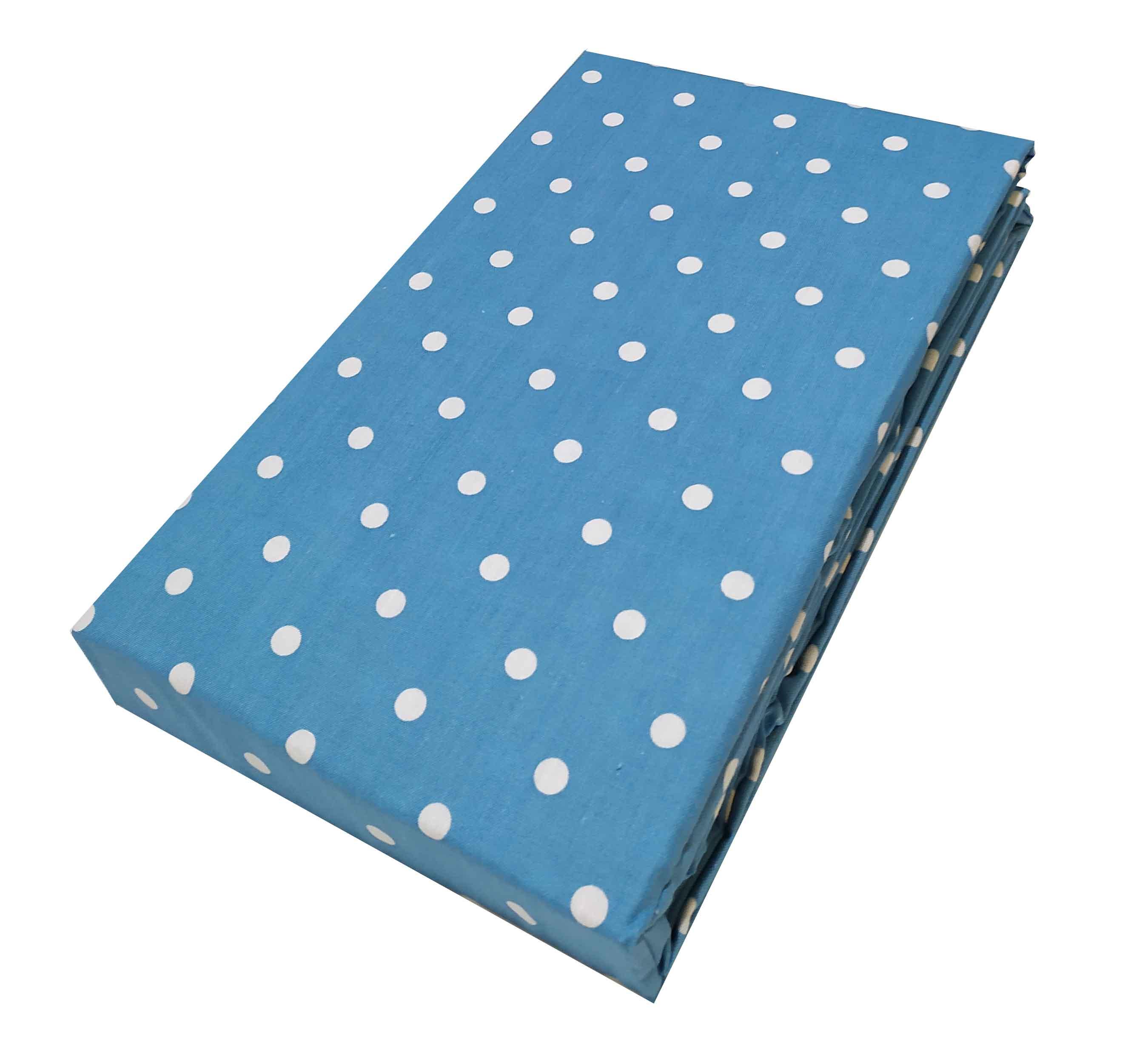 Σεντόνι ΚΟΜΒΟΣ Cotton Line printed Dots Light Blue Υπέρδιπλο με Λάστιχο 170x200+20 - 7002201-14F