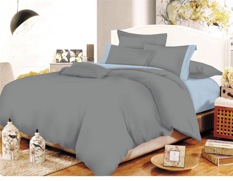 Σετ Σεντόνια ΚΟΜΒΟΣ Cotton Line Grey-Baby Blue Μονόχρωμα με Φάσα Υπέρδιπλα 220x240 - 7000207-25