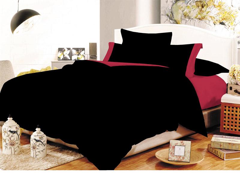Σετ Σεντόνια ΚΟΜΒΟΣ Cotton Line Black-Red Μονόχρωμα με Φάσα Διπλά 200x240 - 7001105-16