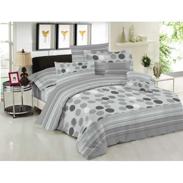 Σετ Σεντόνια ΚΟΜΒΟΣ Cotton Line Printed Bubbles Grey Μονά 160x240  - 7001648-44